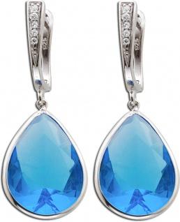 Blaue Zirkonia Ohrringe Silber 925/- Blautopas synth