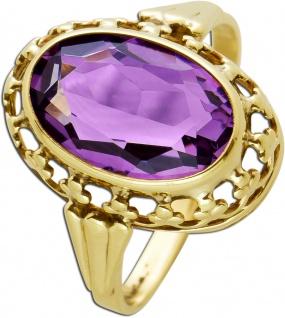 Antiker Amethyst Ring Gelbgold 333 Poliert Edelstein Oval Um 1900 TOP