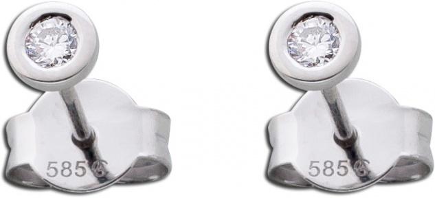 Solitär Diamantohrstecker Brillantohrringe Weißgold 585 14Kt 0, 15