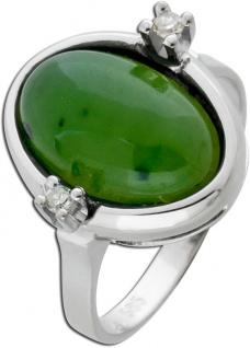 Antiker Edelstein Ring Weissgold 585 grüner Jade Diamanten 0, 02ct