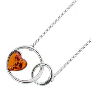 Bernstein Halskette Collier Sterling Silber 925 Erbskette