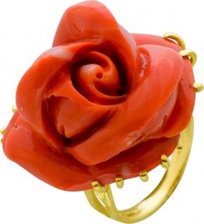 Antiker Edelstein Ring Gelbgold 750/- orangefarbene Naturkoralle - Vorschau