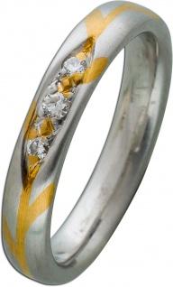 Ring Gelbgold 750/- Platin 950/- Brillanten 0, 10ct TW/VSI, Feine