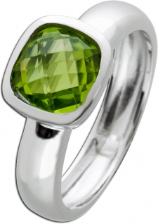 Silberring Edelstein grün Ring Silber 925 Peridot Solitär