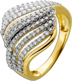 Ring Gelbgold 585 mit 120 Diamanten zus. 0, 65ct 8/8 W/SI 17-19mm