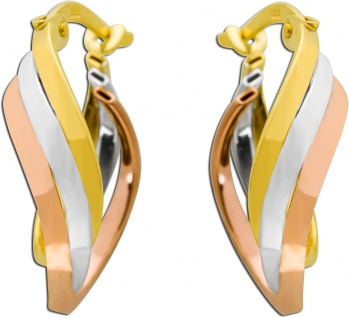 Tricolor Creolen Gelb Weiß Rotgold 333 Damenohrringe