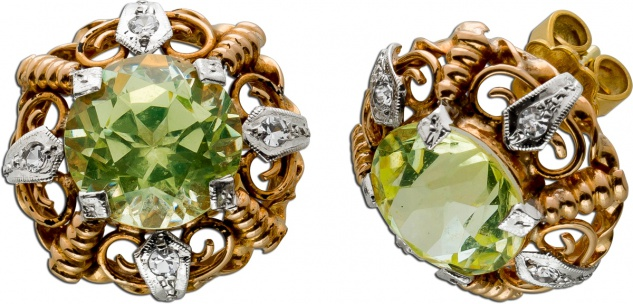 Ohrstecker Gelbgold Weissgold 750 8 Diamanten 8/8 0, 12ct TW/SI 2