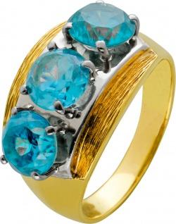 Antiker Edelstein Ring Bicolor Gelb Weissgold 585 blau um 1920 rund