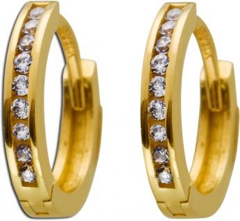 Creolen Gold Ohrringe 333 Zirkonia Ohrschmuck Gold Klappcreole