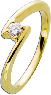 Diamantring Gold 585 Diamant Ring Brillant Verlobungsring 0, 15ct W/SI - Vorschau