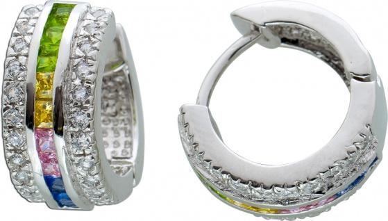 Klappcreolen bunten weißen Zirkonia Silber 925 Ohrringe
