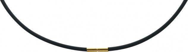 Halskette schwarzes Kautschuk Bajonettverschluss Gelbgold 333 3mm