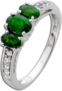 Grüner Edelstein Ring Silber 925 grüne Chromdiopside weisse Topase