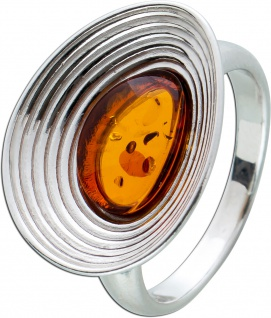 Brauner EdelsteinRing Sterling Silber 925 ovaler Bernstein Cabochon