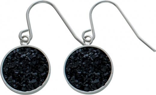 Schwarze Kristall Ohrhänger Edelstahl Ohrschmuck
