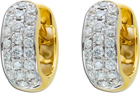 Diamant Ohrringe Klappcreolen Gelbgold 585 Brillanten zus.0, 44ct TW/P1
