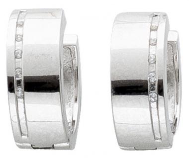 Zirkonia Klappcreolen Silbercreolen Silberohrringe Silber 925