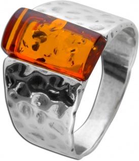 Edelstein Ring Silber 925 brauner Bernstein teils geschwärzt