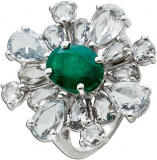 Topas Smaragd Ring Weissgold 750 Poliert Edelsteine Topase Weiß