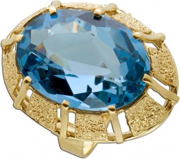 Antiker Blautopas Ring Gelbgold 333 Poliert Edelstein Oval Facettiert