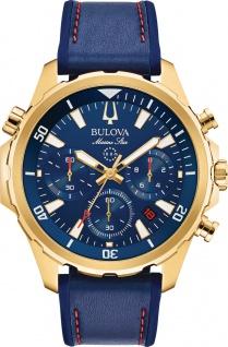 Bulova Herrenuhr 97B168 Marine Star Chronograph Edelstahl IP gold