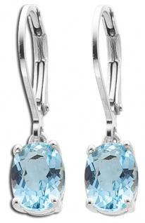 Klappcreolen Blautopas Ohrhänger Silber 925 blauer Edelstein