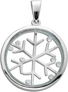 Medaillon Anhänger Silber 925 Schneeflocke Glas Kristall
