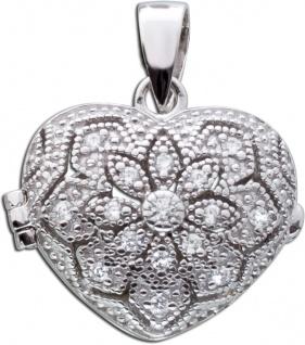 Herz Medaillon Silber Anhänger weiße Zirkonia Sterling Silber 925