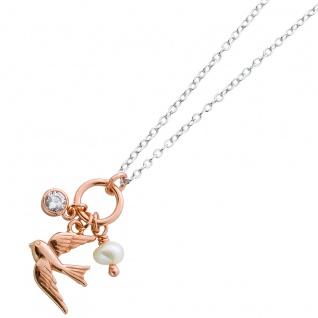 Halskette Silber 925 Rosegold Schmuck Anhänger rosévergoldet Vogel