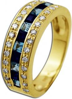 Ring Gelbgold 585/- Blautopase nachtblauen Saphiren 28 weißen