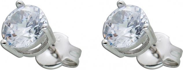 Zirkonia Ohrringe Ohrstecker Sterling Silber 925 weisse Zirkonia 6mm