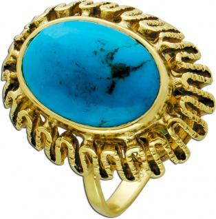 Antiker Türkis Edelstein Ring um 1930 Gelbgold 585 Türkis Cabochon