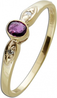 Antiker Ring Gelbgold 333 1 echter roter Rubin Edelstein 2 Diamanten