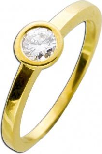 Solitär Goldring Brillant Diamant Gelbgold 585/- Brillant 0, 30ct TW /