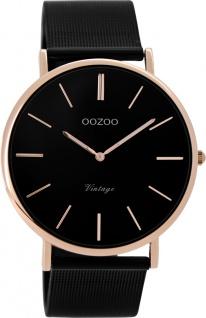 OOZOO Damenuhr C8869 schwarzes Mesh Armband Edelstahlgehäuse rose