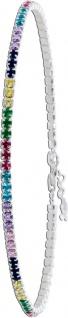 Multicolor Tennis Armband Silber 925 bunten Zirkonia 18+3cm Damen