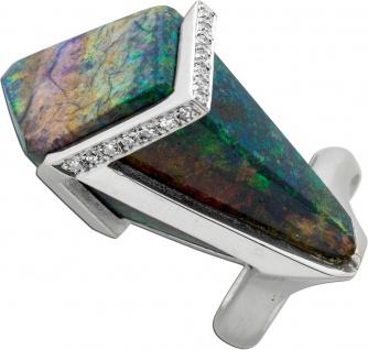 Diamant Ring blau grünen Opal Weißgold 750 weißen Brillanten