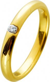 Solitärring Ring Gelbgold 585 Brillant 0, 05ct TW/VSI Massiv, Gr. 17mm