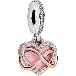 Pandora People Charm Anhänger 788878C01 Sparkling Infinity Heart Rose