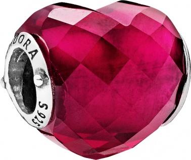 PANDORA Charm 796563NFR Liebes Herz kirschrot Sterling Silber 925