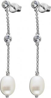 Lange Perlen Ohrhänger weißen Süßwasserzuchtperlen Silber 925