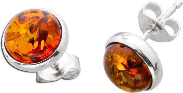 Ohrstecker Bernstein braun cognac Orange rund Silber 925 Ohrschmuck