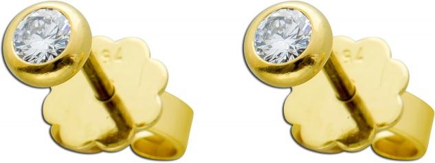 Brillant Solitär Ohrstecker Gelbgold 750 2 Brillanten zus 0, 40ct TW