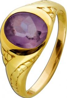 Antiker Edelstein Amethyst Ring Gelbgold 750 um 1900 lila violett