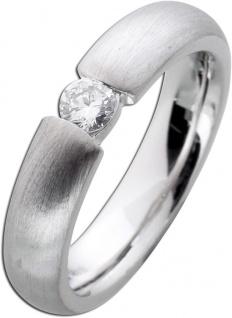 Verlobungsring weiß silber längsmattiert Platin 950 Brillant 0, 25ct