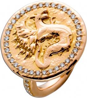 Coin Ring ICE DRAGON Rosegold 750 Diamanten Brillanten ca 0, 53ct