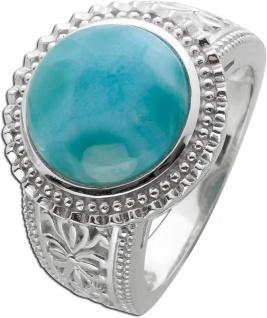Edelstein Ring runden hellblauen Larimar Silber 925