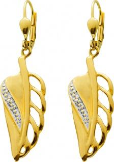 Brisur Flügel Ohrhänger Gelbgold 333 Diamanten 8/8 W/P Zus. 0, 01
