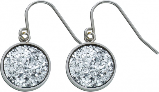 Silberfarbene Kristall Ohrhänger Edelstahl Ohrschmuck