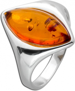 Bernstein Ringe Orange Braun Cognac Silber 925 Bernstein Navette